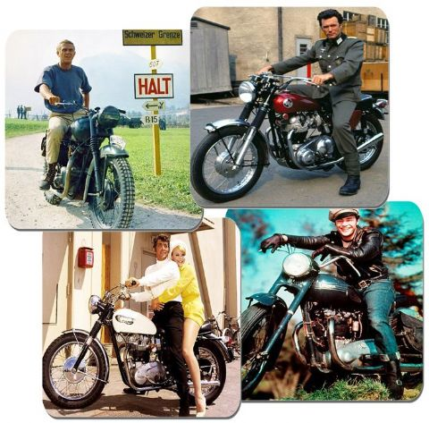Hollywood Stars On Their Motorcycle Coaster Set Of 4.  Motorbikes